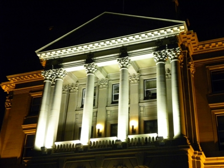 Entrance to Alberta Legislature building in the night
