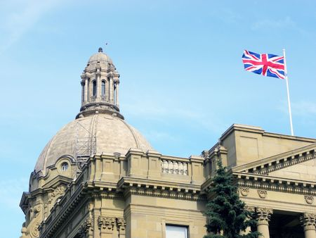 Alberta Legislature building with british flag