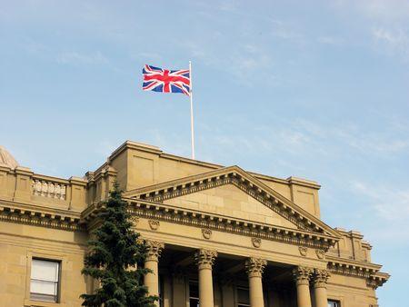 Alberta Legislature building with the British flag Stock Photo