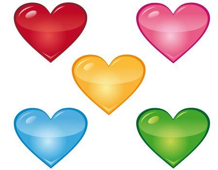 Hearts in different colours Ilustração