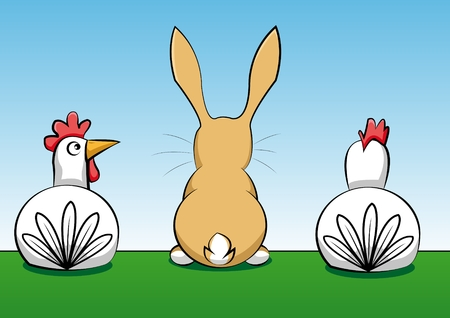 brown hare: rabbit with two hens
