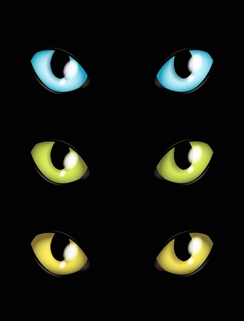 threatened: cat eyes in different colours Stock Photo