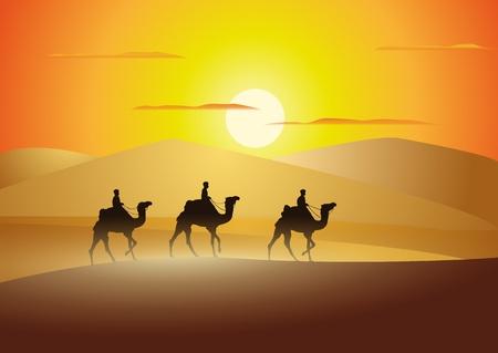 camel in desert: caravan