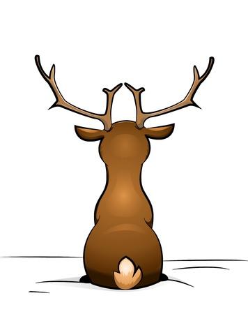 renna: Rudolph seduto nella neve Archivio Fotografico