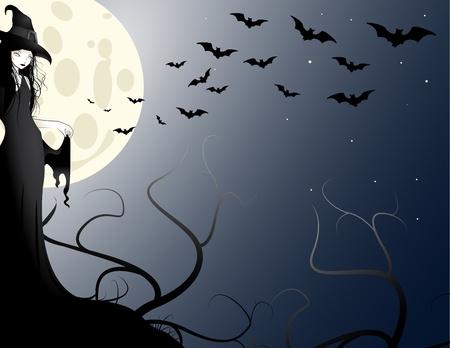 witch in the moonlight Standard-Bild