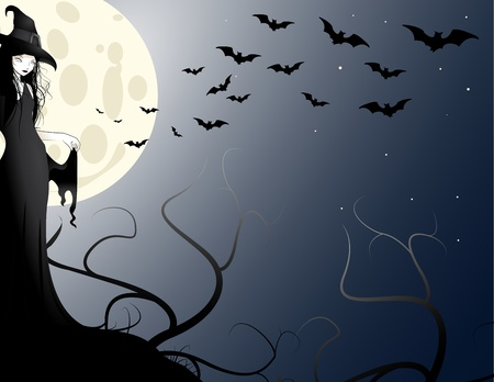 witch in the moonlight Stock Photo