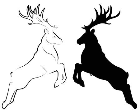 herten zitten in de sneeuw Stock Illustratie