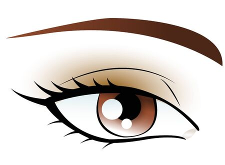 eye brow: brown eye