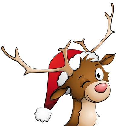 Reindeer with christmas cap on Illustration