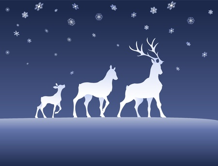 deers in a winternight Stock Vector - 11261006