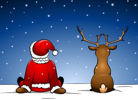 Santa and Rudolph sitting in the snow
