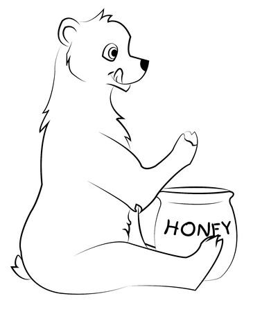 nibble: bear and honey Illustration