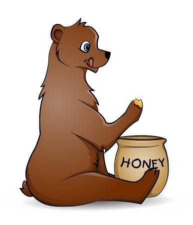 bear with honey Vector