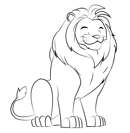 line drawing: grinning lion