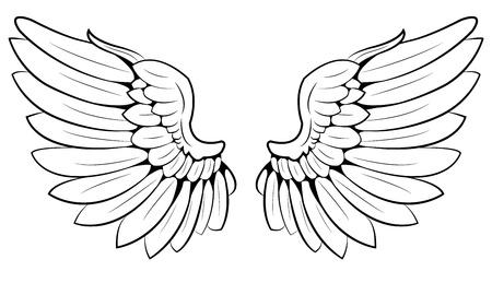 tatouage ange: paire d'ailes Illustration