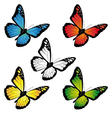 butterflies in different colours Stock Illustratie