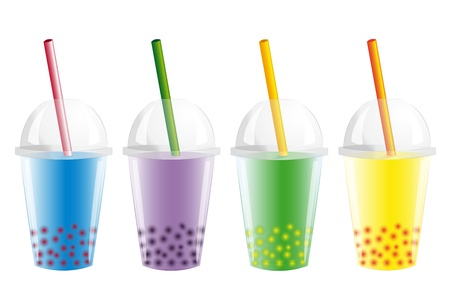 colorful straw: Bubble Tea  Illustration