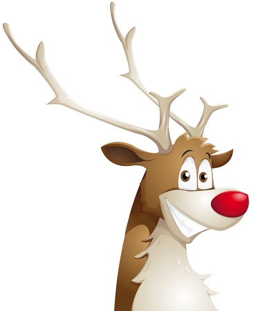 cartoon reindeer: grinning reindeer