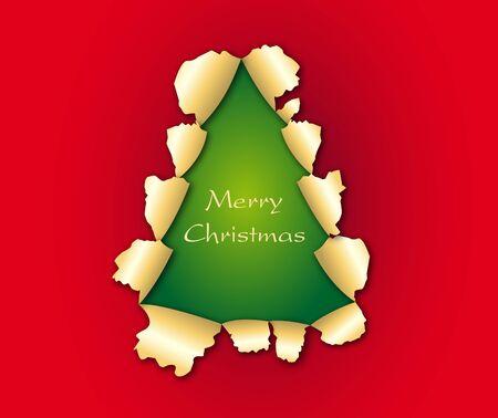 Torn paper in the shape of Christmas tree  Ilustração