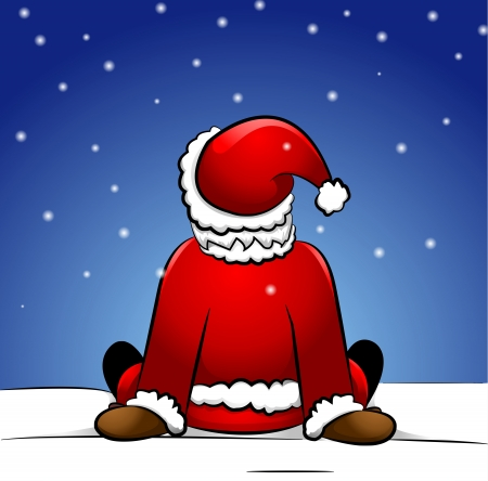 Santa Claus sitting in snow