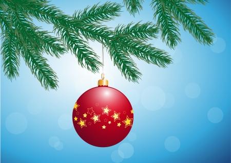 fir branch with christmas bulb Ilustração