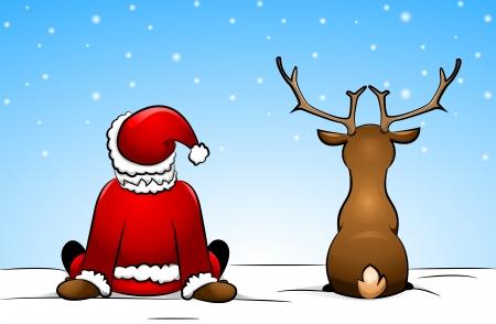 Weihnachtsmann und ein Rentier