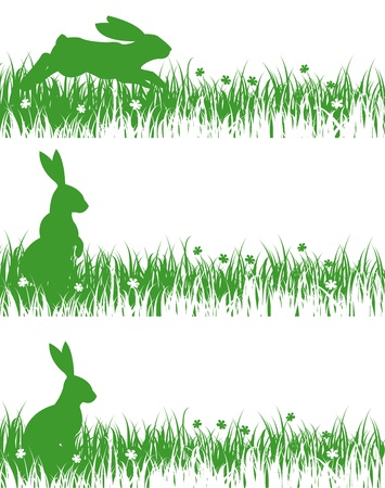 silhouette lapin: lapins sur une prairie