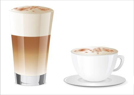 Latte Macchiato and Cappuccino Vector