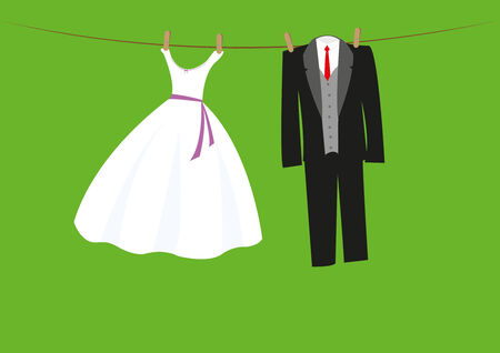 wedding clothes on a line