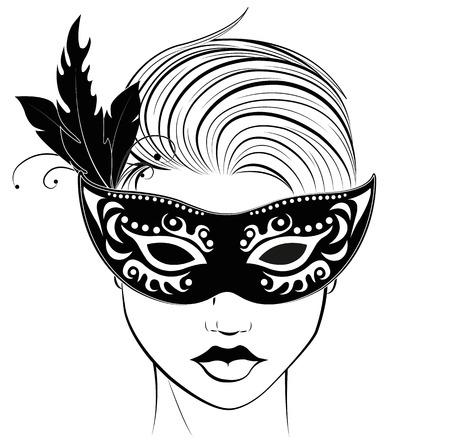masked woman Ilustração
