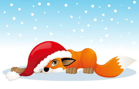 cute fox with christmas hat