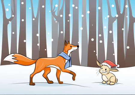 fox an rabbit in the winter forest