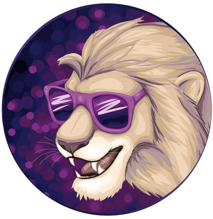 cool lion with sun glasses