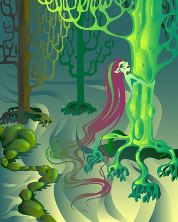 fantasy view of the forest elf, which merged with the tree into one. Vektorové ilustrace