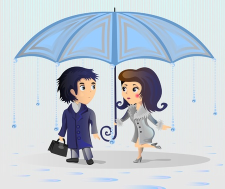 A woman protects a man from the rain, hiding it under an umbrella