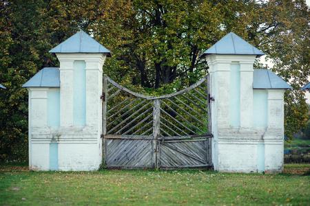 main gate: Griboyedov Manor Hmelita, the old main gate. Stock Photo