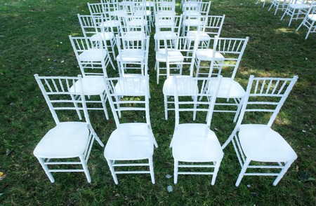wedding chairs: Classic white wedding chairs on a green lawn, without decoration. Summer.