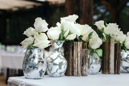 Beautiful Decor At The Wedding Glass Vases Handmade Glued A Stock