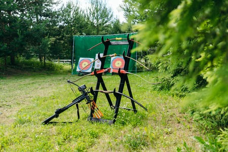 Stand with bows on a beautiful meadow. Background of the target.