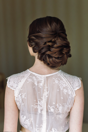 Bride hairstyle, look from the back.