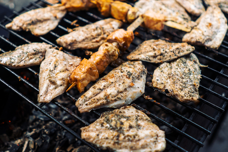 The fish is grilled, burning coals. Stock Photo