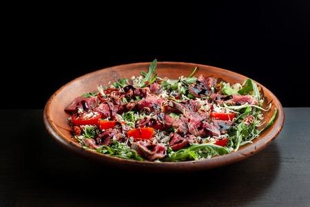 Salad from steak.