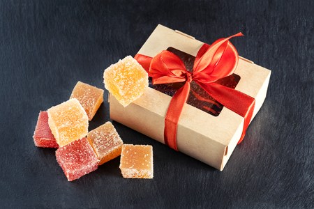 Christmas or New Year homemade sweet present in box. Festive decoration.