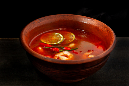 Shrimp soup or Tom Yam goongTraditional food in Thailand contains chili, lime, ginger, galangal, lemongrass, lime leaf.