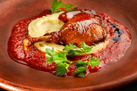 Roasted duck leg with mashed potatoes and tomato sauce.