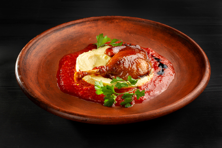 Roasted duck leg with mashed potatoes and tomato sauce-2.