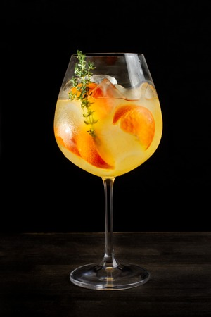 Alcoholic cocktail with orange slices and ice-2. Stock Photo