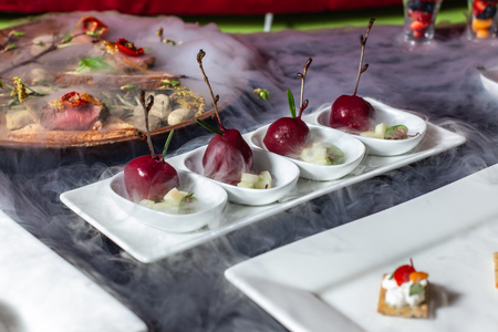 Snack in the form of cherries, catering, fine dining-4.