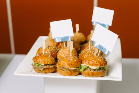 Hamburgers lie on a white plate, with beautiful signs for signatures. Stock Photo