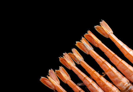Top view of shrimps on black isolated background. Tiger shrimp tails. Standard-Bild